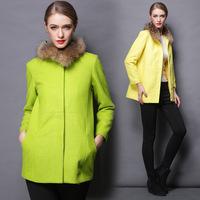 M-3XL Brand 2014 Autumn Winter Warm Women Solid Color Green/ Yellow Fur collar Woolen Coat Ladies Big size XXXL Wool Blends