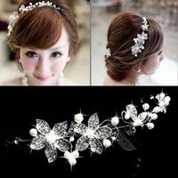 Promotion 100% New Brand Crystal New Beauty Pearl Flower Party Bridal Headband Tiara Headwear Silver   K5BO