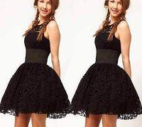 New Fashion Sexy Women Black Bodycon Lace Gown Cocktail Mini Dress 8 10 12 14 16