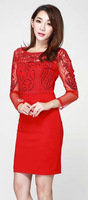 New Arrival Fashion Sheath Women Sequined Red Dress Elegant Sexy Long Sleeve Casual Dresses 4156