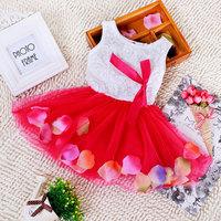 4pcs 2015 Children girl's Summer Sleeveless princess dress with flower bowknot 5colors 1847
