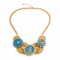 Ethnic Style Bohemia Gold Color Boho Necklace 2014 Blue Resin Hollow Out Flowers Pendants Jewellery