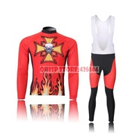 2015 Motocross Suit Fire Skull Thermal Winter Cycling Bike Clothing Set Brand Jersey Bicycle Cycle Sport Jacket Bib Pants Suit