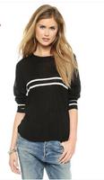 Concise baseball white stripes  09 fall back shoulder hem dovetail women sweater