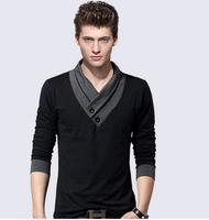 M-4XL Plus Size Oversized mens t shirts fashion 2014  V Neck Famous Brand Dota 2 T-Shirt Men Long Sleeve T Shirt Undershirt