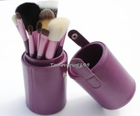 NEW Professional 12pcs Brand MC Makeup Brushes Set 12 Pieces Brand Brush Set Make up Tool + Leather Cup Holder Kits Purple