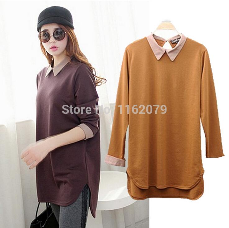 Black Camel Light Purple Loose Women Bottoming T Shirt Turn Down Collar Long Sleeve Cotton Clothing All Match Wear Plus Size(China (Mainland))