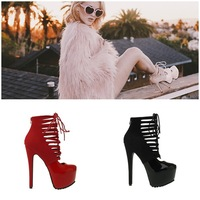 Large Size 11 Red Patent Leather Hidden Platform Privileged Ankle Boots High Heels Cut-out Strappy Gladiator Sandals Shoes