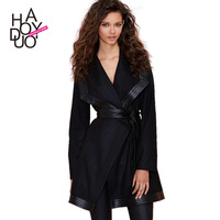 2015 European style women Trench punk style PU patchwork designing streetwear coat for wholesale and free shipping haoduoyi