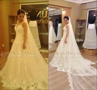 Vestidos De Novia 2015 Sweetheart Sleeveless Beaded Lace Tulle A Line Long Wedding Dresses
