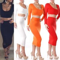 2014 Hot New Style 2 Piece Bandage Bodycon Dress Celebrity Long Sleeve Dresses Sexy Club dresses White Black Purple