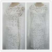 2014 Autumn New Women Long Sleeve Hollow Lace Slim Fit Floral Party Short Mini Dress 3 Sizes