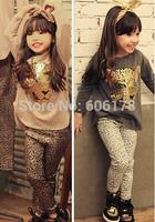 wholesale new 2015 spring autumn fashion girls European and American leopard head t-shirt+ pant suit 2pcs