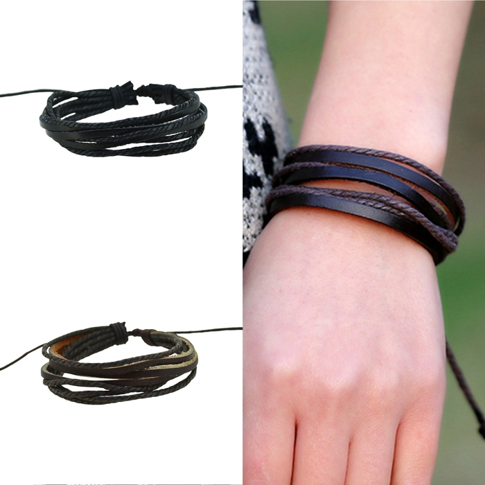 Simple Bangles Wrap Mens Bracelet Charm Genuine Leather Bracelets Bangles Bracelets for Women Bracelet Men Jewelry