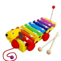 8 Notes Wooden Hand Knock Xylophone Pull Toys Dog Puppy Train Musical Instrument for Kids