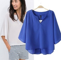 2015 European Style Women Shirt Chiffon Solid O-neck Pullover  Batwing Sleeve Summer Spring  Loose Casual Tops Blouse CL2424