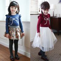 Baby Kids Girls Long Sleeve Cotton Shirt Big Bow Ruffle Sleeve T-shirt Tops 2-7Y Free Shipping