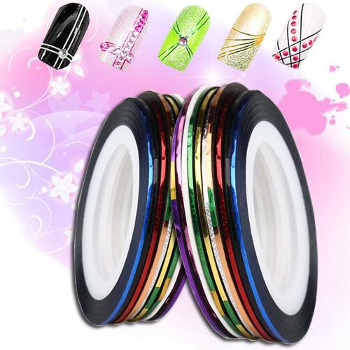 Fantastic 10 Roll Mix Color Metallic Nail Art Tape Lace Line Strips Decoration Sticker UV Gel Polish(China (Mainland))