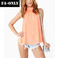 2014 Women Blouse Spring Summer Casual Shirts Sexy Chiffon Blouse Backless Women Shirt c4007