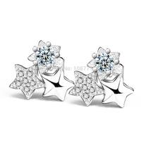 GNE1104 Brand Design Star Silver Stud Earring 925 Sterling silver Jewelry Zircon Starry Sky Earrings For Children Gift Lovely