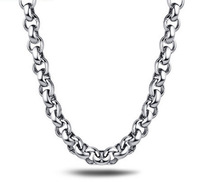 Huge Silver Stainless Steel Round Rolo Link Necklace Chain for Men 9MM 21.6''