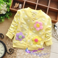 2015 Spring and Autumn  Child Girls Dot 3 flowers fashion cardigan coat,Children cardigan outwear,4pcs/lot, V1546