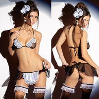 Hot Women's Sexy Erotic Lingerie Sleepwear Costumes Sheer Naughty Maid Costume NEW Freeshipping