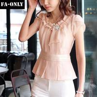 2014 Spring Women Blouses Short Sleeve Slim Ruffles Chiffon Tops Women Shirts Plus Size Women Clothing Free Shipping c1418