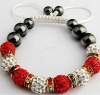 Sales Promotion 10mm Crystal AB Clay Disco Ball Shamballa Bracelets & Bangles Mix Colours Options SHABS 3pcs One Lot SM-1