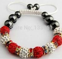 Sales Promotion 10mm Crystal AB Clay Disco Ball Shamballa Bracelets & Bangles Mix Colours Options SHABS 3pcs One Lot SM-1