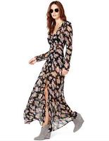 Floral printed long-sleeve nagato inner black soft chiffon long dress