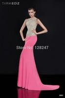 2015 Tarik Ediz Custom made Style Sexy pink beaded  maxi dress long mermaid prom dresses for winter RT-595