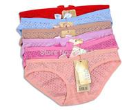 5pcs lot high quality boxer women's panties woman Low-waist sex refreshing summer modal hollow dot panties