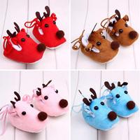 Lovely Winter Xmas Elk Deer Style Baby Girl Boys Crib Shoes Plush Fleece Shoes Free Shipping