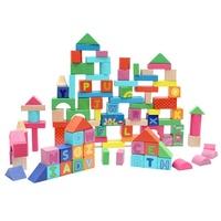 100Pcs Colorful Beech Wooden Alphabet Building Blocks Kids Children's Educational DIY Toy