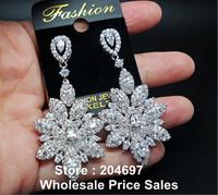 Pretty Marquise Cluster Flower Shape AAA+ Swiss Cubic Zirconia CZ Diamond Bridal Drop Earrings Wedding Jewlery