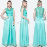 Elegant Long Lace&Chiffon See Through Evening Party Wedding Bridal Women Mint Green Dress Ball Gown