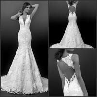 2015 New Europe Fashion Wedding Dress Bride Sexy Backless Lace Romantic Wedding Dress Slim Fit Train Wedding Dresses Hot sale