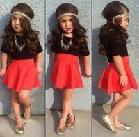 Baby Girl High Waist Skirt+Cotton T shirt Sets:European and American Style Girls Clothing Sets meninas vestir Fashion Suit 2015