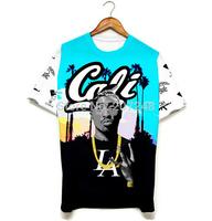 2015 New high quality Women's Men's Short Sleeve T shirt Fashion Rapper singer 3D t shirt S M L XL XXL