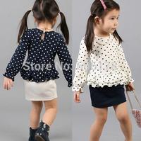 girls new style spring polka dot set (long sleeve t-shirt+ step skirt) Kid's popular sale lovely suit
