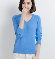 2015 New Women V-neck Winter Cashmere Sweater Knitted Sweater Bottoming Shirt Candy Color