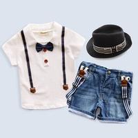 Pure Cotton Baby Boy Set 2015 New:Gentleman Baby Costume Bib Shorts Jeans+t Shirts Suit 2 Piece Sets Kids Clothes Boys