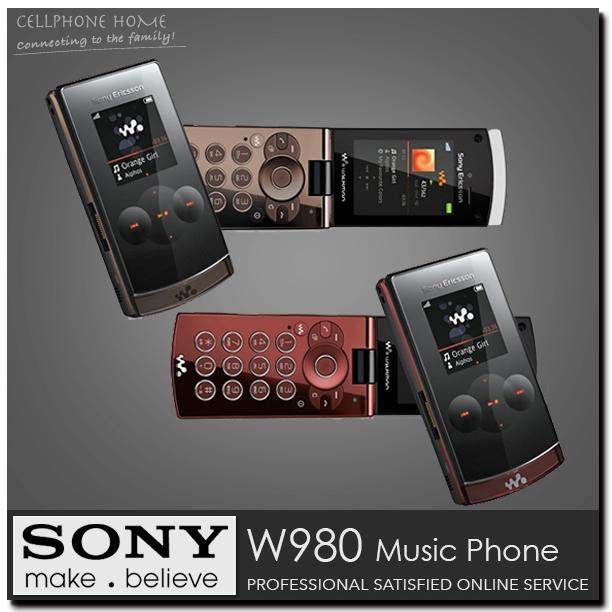 W980 Original Sony Ericsson W980i Flip Mobile Phone Bluetooth Music 3.15MP Unlocked 3G W980C Cellphone One Year Warranty(China (Mainland))