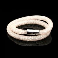 2015 Hot sale Stardust Mesh Double Bracelets With Crystal stones Filled Magnetic Clasp Charm Bracelets Bangles JDB001-06-2
