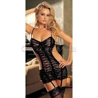 Hot Sexy Lingerie bridal Lace Belted Sleepwear Garter Belt G string babydoll F