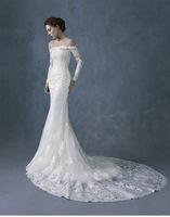 2015 New Mermaid Wedding Dress Bride Sexy A Word Shoulder Long Sleeve Lace Romantic Wedding Dress Slim Train Wedding Dresses