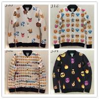 (Alice)whole clothing print Q Emoji jacket 3d men single breasted rib sleeve Space cotton jacket men's casual jackets 4.styles
