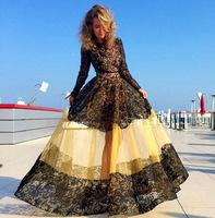 2015 fashion hollowout lace patchwork gauze dress fairy princess dress high quality long sleeve evening dress free shipping