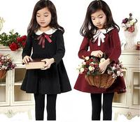 2015 Children Spring Preppy Style Dress Girl Cotton Bow Solid Dresses Kids Garment 5 pcs/lot, Wholesale